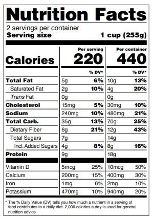 tabella dei valori nutrizionali americana per serving e confezione