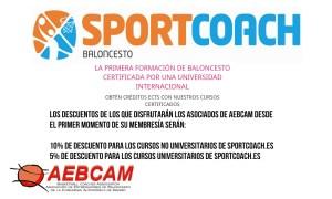 Beneficios AEBCAM Socios – Sportcoach – cursos de Formación
