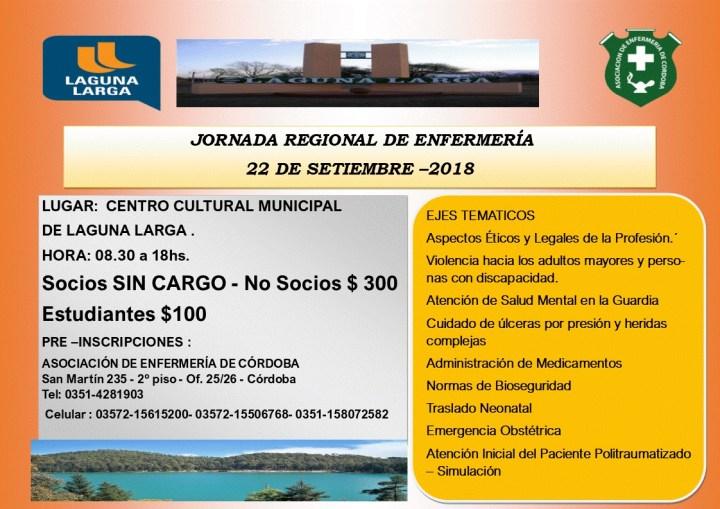 1° Jornada Regional de Enfermería. Laguna Larga. Córdoba. 22 de Septiembre 2018