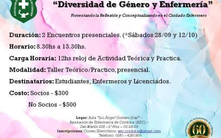 """Taller """"Diversidad de Género y Enfermería"""" - 28/09 y 12/10 en el Aula Lic. Angel Gustavo Diaz, AEC. 1"""