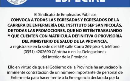 Convocatoria Especial del SEP