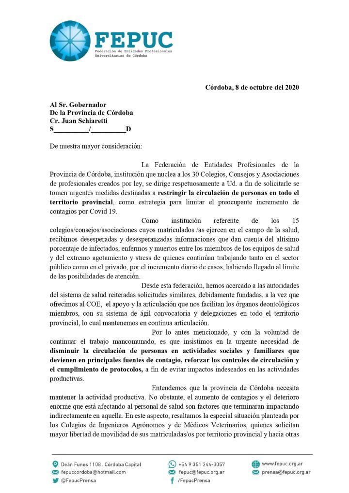PEDIDO EN CONJUNTO CON MIEMBROS DE FEPUC POR LA SITUACIÓN ALARMANTE DEL SISTEMA DE SALUD