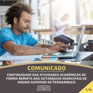 ASSIESPE emite comunicado sobre a continuidade das atividades acadêmicas de forma remota nas Autarquias Municipais de Ensino Superior de Pernambuco
