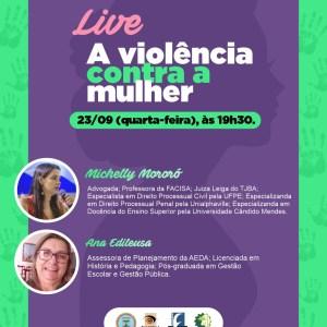 """""""A Violência contra a Mulher"""" será o tema da próxima live no instagram da AEDA"""
