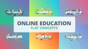 Online Education - Typography Flat Concept