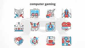 Computer Gaming – Thin Line Icons