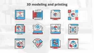 3d Modeling And Printing – Thin Line Icons