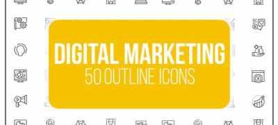 Digital Marketing - 50 Thin Line Icons