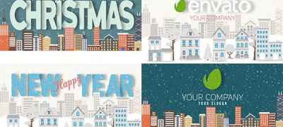 Christmas and New Year Text with Logo Reveal