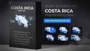Costa Rica Animated Map - Republic of Costa Rica Map Kit
