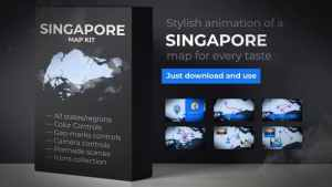 Singapore Animated Map - Republic of Singapore Map Kit