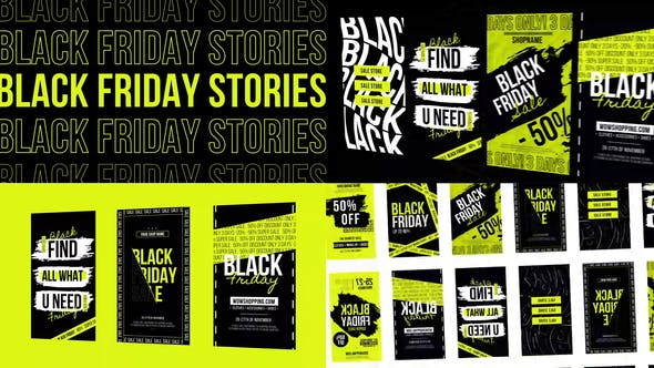 Download Stories Black Friday Instagram NEON – Videohive