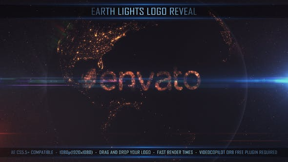 VIDEOHIVE EARTH LIGHTS LOGO REVEAL