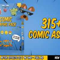 VIDEOHIVE COMIC TITLES - SPEECH BUBBLES - EMOJI - STICKERS - FLASH FX GRAPHIC PACK