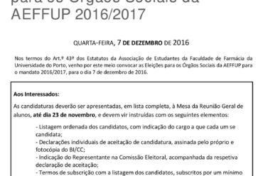 Eleições Órgãos Sociais 2016/2017