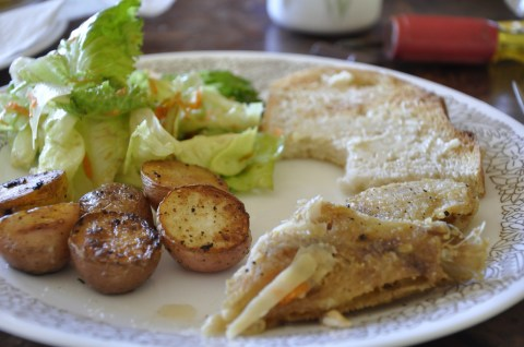 Fried Rex Cod, New Potatoes fried in Olive Oil and Rosemary, Salad with Garlic Vinaigrette, and garlic toast