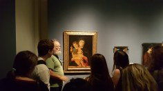 Art history professor Jeffrey Carson lecturing at the Accademia Museum, Venice