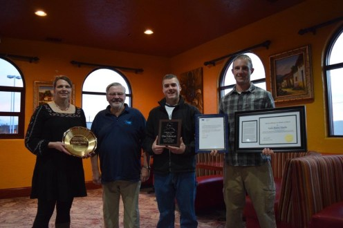 David Riggs, NEHA President (second from left), stands with the 2016 AEHA awardees: Lorinda Lhotka (left), Environmental Health Practitioner of the Year; Chris Dankmeyer (middle), AEHA Certificate of Merit; and Kyle Wright (right), accepting Katie Bante's NEHA Certificate of Merit.