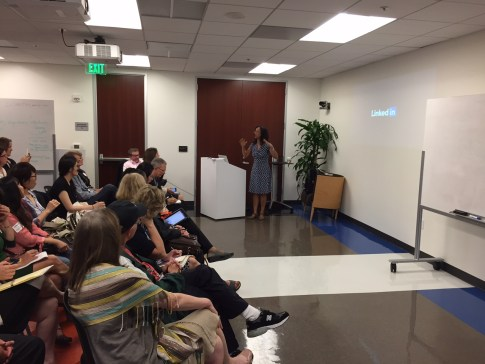 Yumi Wilson, manager for Corporate Communications at LinkedIn, addressed PRD visitors on optimizing their LinkedIn profiles and provided an overview of the site's key features for public relations usage.