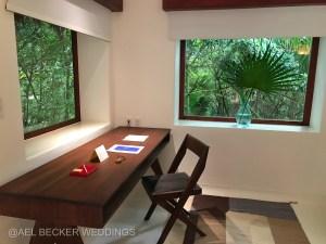 Work desk at Hotel Esencia. Luxury travel in Riviera Maya, Mexico.