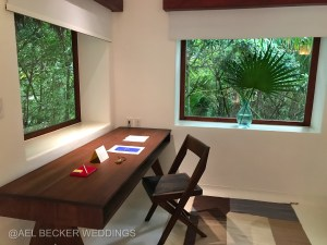 Work desk at Hotel Esencia. Luxury travel in Riviera Maya, Mexico.