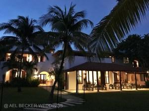 Hotel Esencia Main House by night. Riviera Maya, Mexico