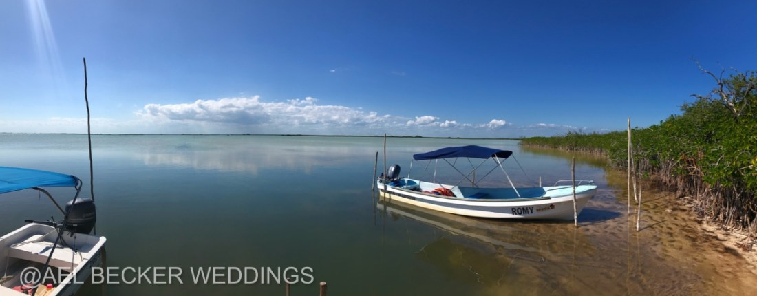 Speed boats at Sian Ka'an Lagoon, Mexico. Ael Becker Weddings