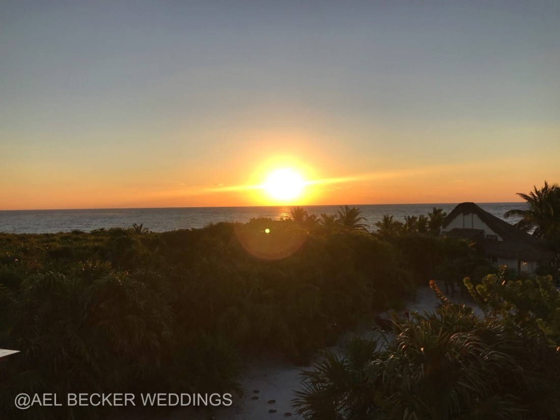 Beach sunrise at Mukan Resort, Sian Ka'an, Mexico. Ael Becker Weddings