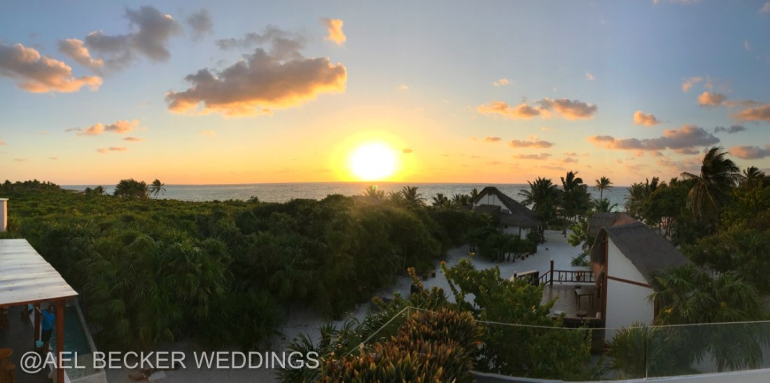 Last sunrise from Mukan Resort's rooftop. Sian Ka'an, Mexico. Ael Becker Weddings