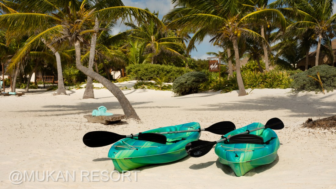 Kayaks, paddle boards and snorkeling equipment available at Mukan Resort, Tulum, Mexico. Ael Becker Weddings