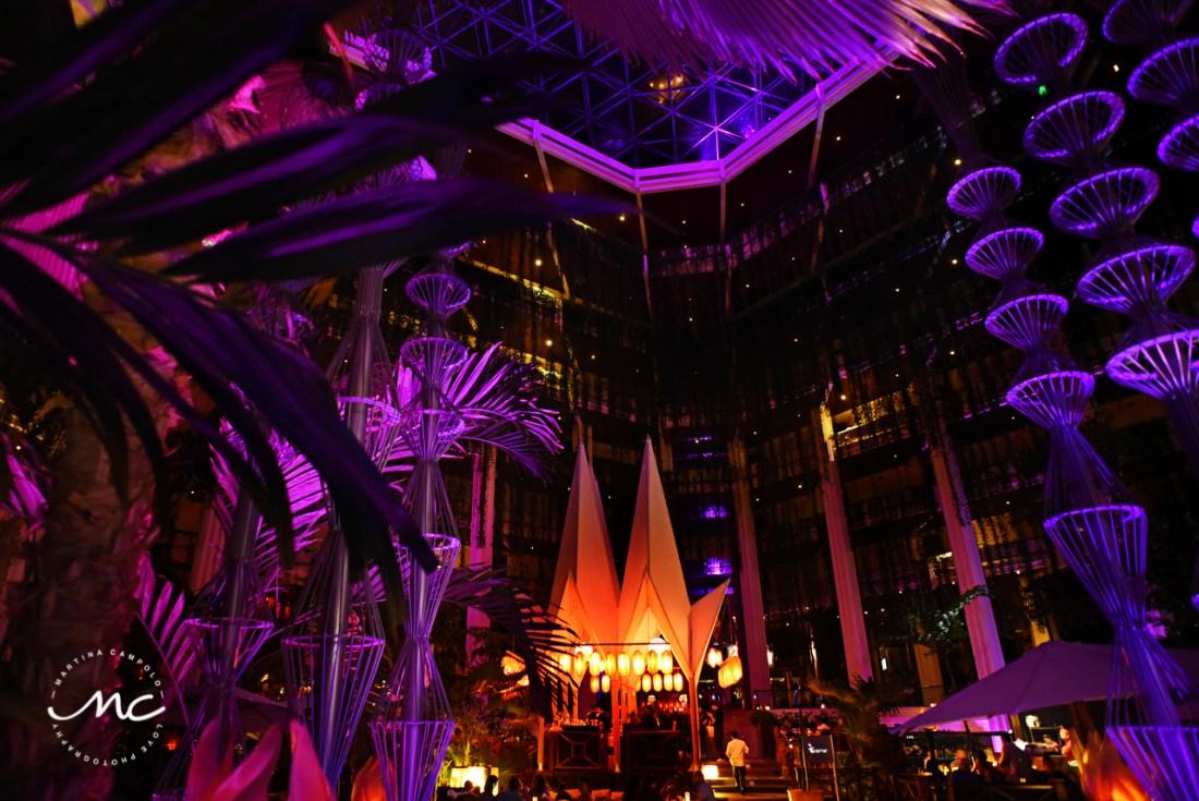 Paradisus Cancun main lobby by night, Mexico. Martina Campolo Photographer
