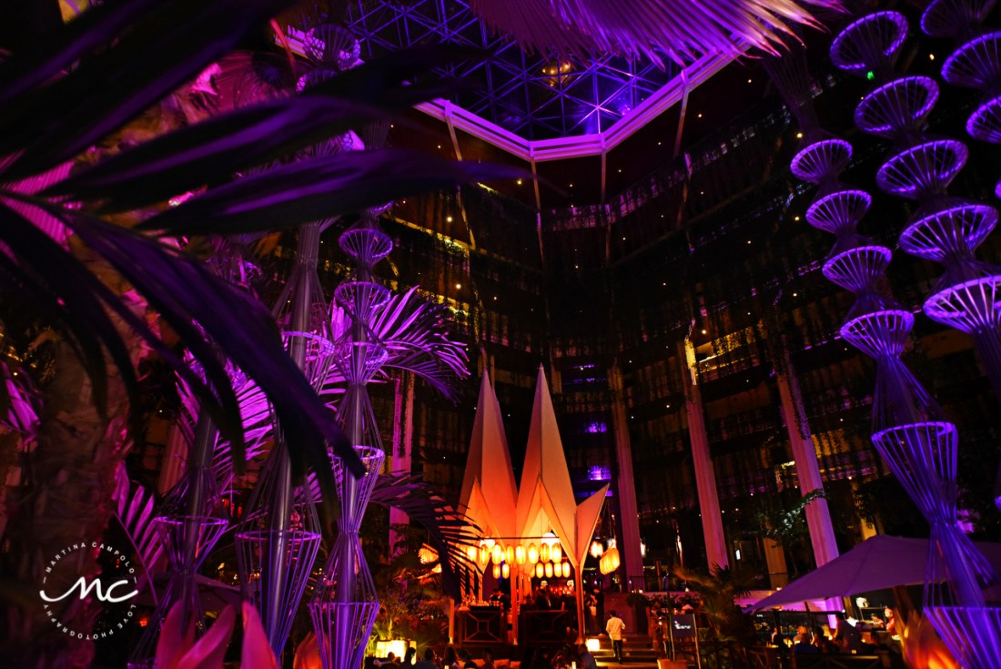 Paradisus Cancun main lobby by night, Mexico. Martina Campolo Photographer