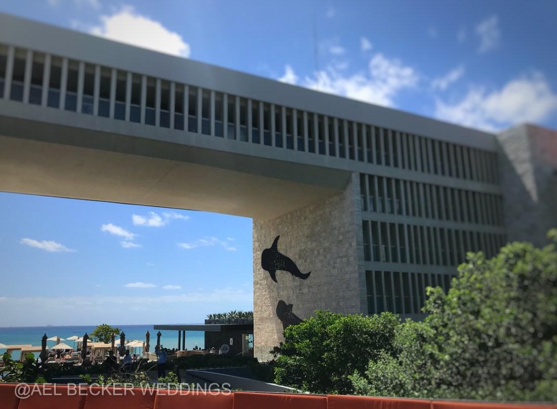 The bridge with whale sharks art at Grand Hyatt Playa del Carmen
