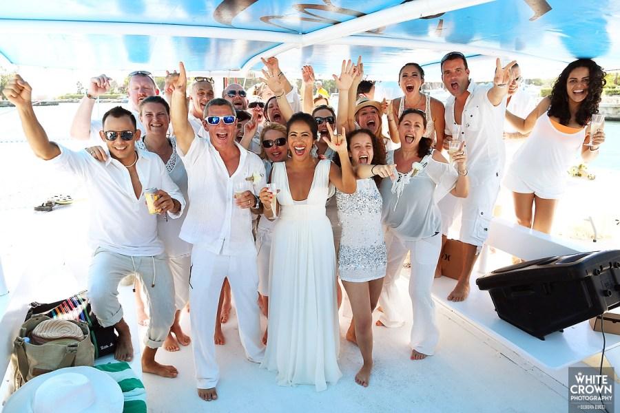 Catamaran wedding in Mexico. Ael Becker Weddings