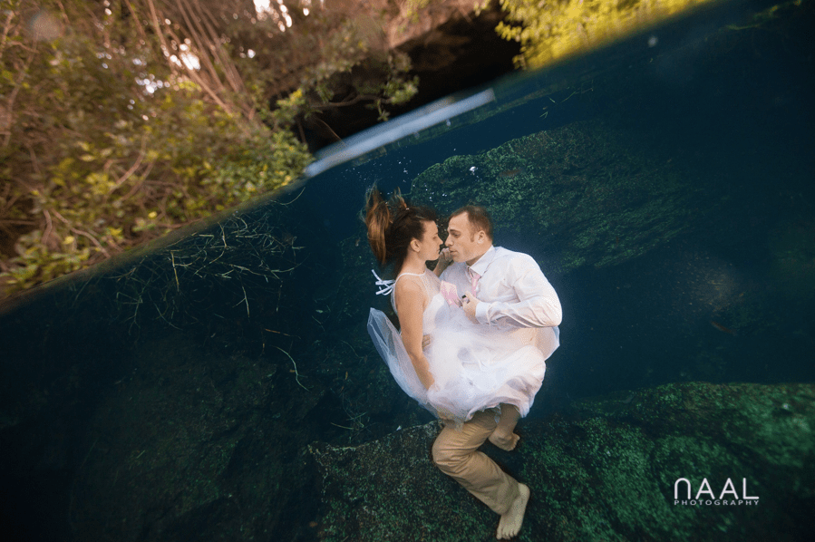 Underwater Cenote Trash the Dress Session by Naal Wedding Photography