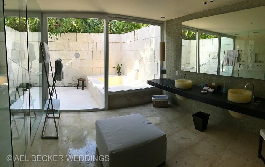 Spacious bathrooms. Blue Diamond Luxury Boutique Hotel, Riviera Maya, Mexico. Ael Becker Weddings