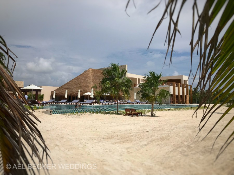 View of Chable Maroma from the beach. Ael Becker Weddings