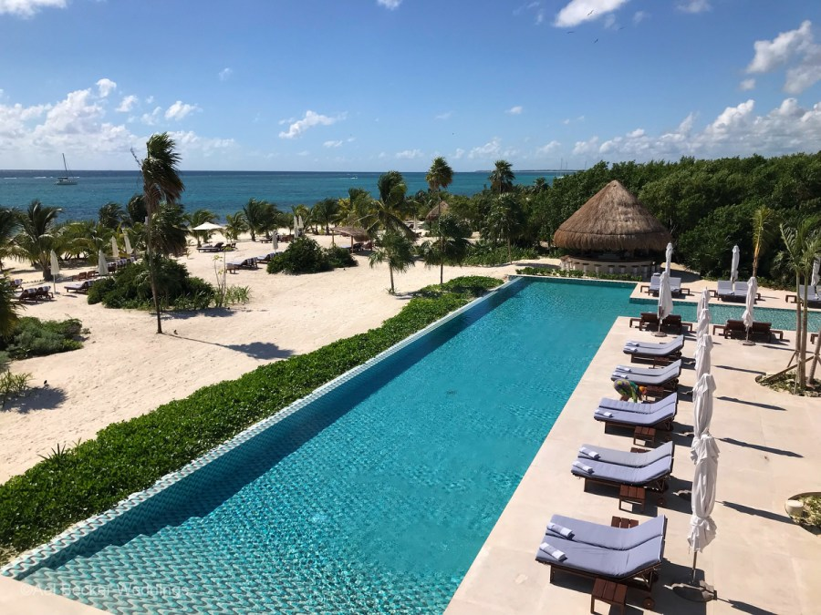 Aerial view of beach front pool area at the new Chable Maroma, Mexico. Ael Becker Weddings