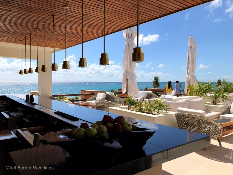 Modern rooftop bar at Chable Maroma, Riviera Maya, Mexico. Ael Becker Weddings