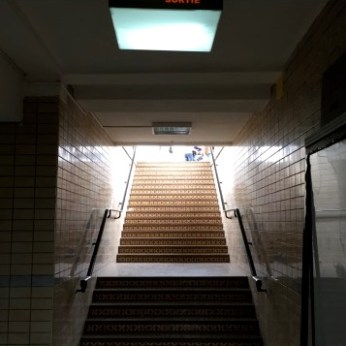 Up the staircase to the platform