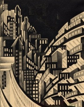 New York, by Louis Lozowick, lithograph, ca. 1925