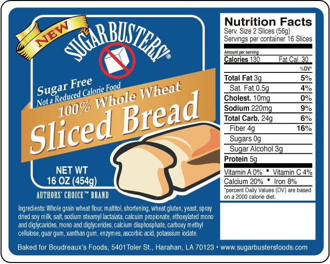 Sugar Buster White bread label