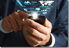 business man hand use mobile phone streaming virtual business network process diagram