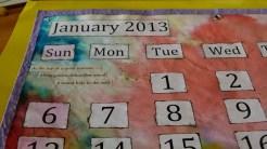 Calendar January 2013 close-up