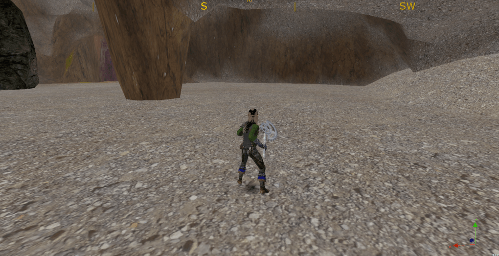Sand and gravel on the cavern's floor.