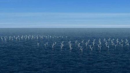 Wind generator windmills in the water.