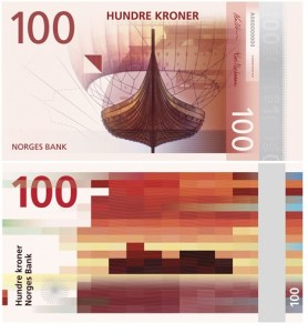 Atristic Norwegian Banknotes, front and back.