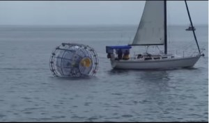 "Bermuda-bound runner Reza Baluchi in floating 'hamster wheel' rescued at sea. - A statement on Baluchi's website said the Iranian exile had planned to make the 1,662-kilometre trip in his self-designed bubble to raise money ""for children in need"" and ""to … inspire those that have lost hope for a better future."""