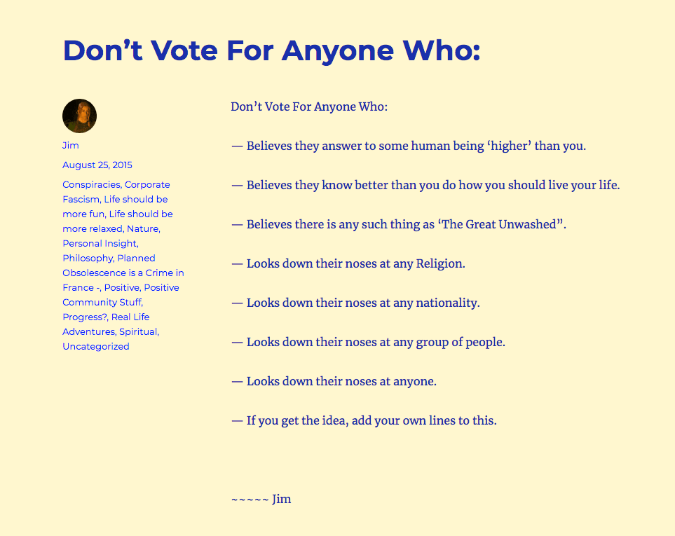 """"""" Don't Vote For Anyone Who ---"""""""