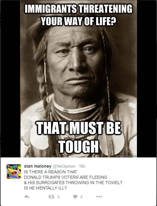 Native American / First Nations person thinking that donald trump complaining about immigrants doesn't holdwater.
